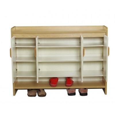 木风鞋柜 现代简约实木收纳柜多层可调节鞋架储物柜