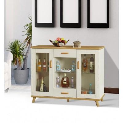 实木餐边柜茶水柜碗柜酒柜储物柜厨房厅柜橱柜松木带玻璃门