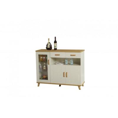 地中海茶水柜橱柜厨房储物柜碗柜白色 美式实木餐边柜