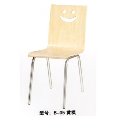 休闲肯德基不锈钢曲木餐椅饭店小吃店食堂快餐单椅曲木椅君发家具