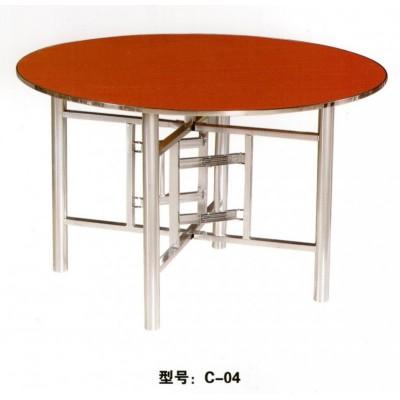 家用折叠圆桌子简易实木圆形餐桌饭店酒店大圆桌竹子圆桌君发家具