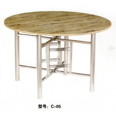 大圆桌子小户型可折叠桌餐桌杉木面板简易饭桌君发家具