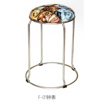 简约时尚创意布艺圆凳子餐厅餐椅子电镀不生锈折叠高圆凳鑫宝登业