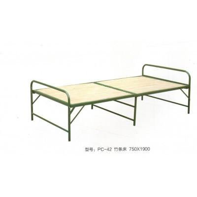 午休双人床折叠竹床 竹板床竹片床金属铁床易携带折叠床鹏程床业