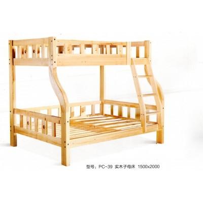 全实木高低子母床上下双层纯松木原木母子床鹏程床业