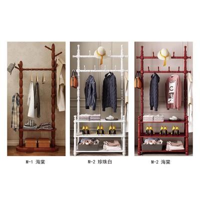 实木欧式门厅置物架客厅衣服架现代简约衣架 落地卧室挂衣架衣帽