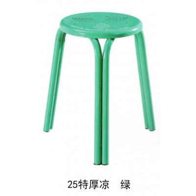 家用成人板凳饭馆餐厅凳圆凳子铁凉凳子加厚钢管三脚折叠櫈子