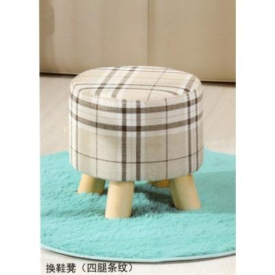 实木矮凳换鞋凳时尚圆凳创意穿鞋凳布艺沙发凳板凳小凳子
