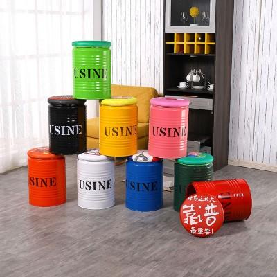 油漆桶凳子时尚创意铁皮圆服装店铁艺金属油桶铁桶凳 林诚桶凳
