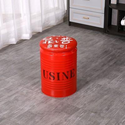 桶凳子美式工业风储物凳创意收纳凳铁皮圆桶油漆桶凳 林诚桶凳
